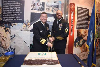 WASHINGTON (March 6, 2017) Vice Adm. Luke M. McCollum, left, chief of Navy Reserve, and Force Master Chief CJ Mitchell, force master chief of the Navy Reserve, prepare to cut the Navy Reserve birthday cake during the 102nd Navy Reserve birthday celebration at the U.S. Navy Memorial. The Navy Reserve was officially established March 3, 1915 by combining 17 state naval militias into a single federal force. U.S. Navy photo by Mc2 Jonathan L. Correa